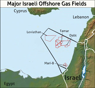 Map of Israel's offshore gas fields