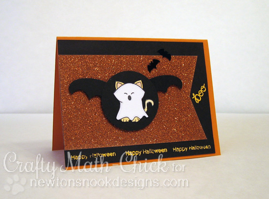 Glittery Kitty Halloween Card by Crafty Math-Chick for Newton's Nook Designs - Boo Crew Stamp Set