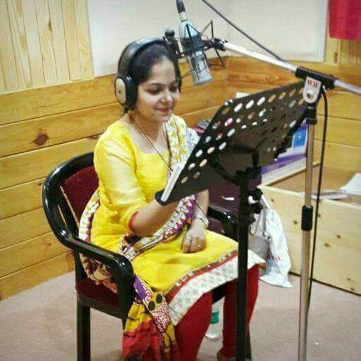 Geeta Recording Audio Book in a Studio
