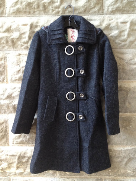 Heart lined boiled wool coat with great hardware.