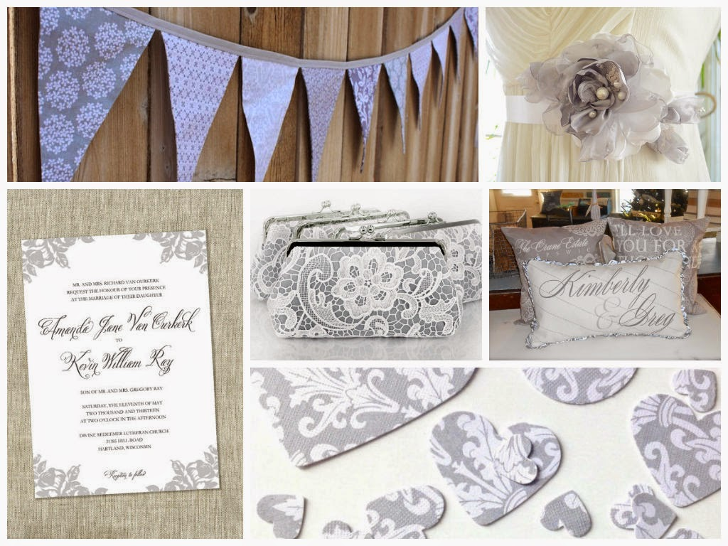 Gray and White Wedding Inspiration Board, curated by Sugarplum Garters
