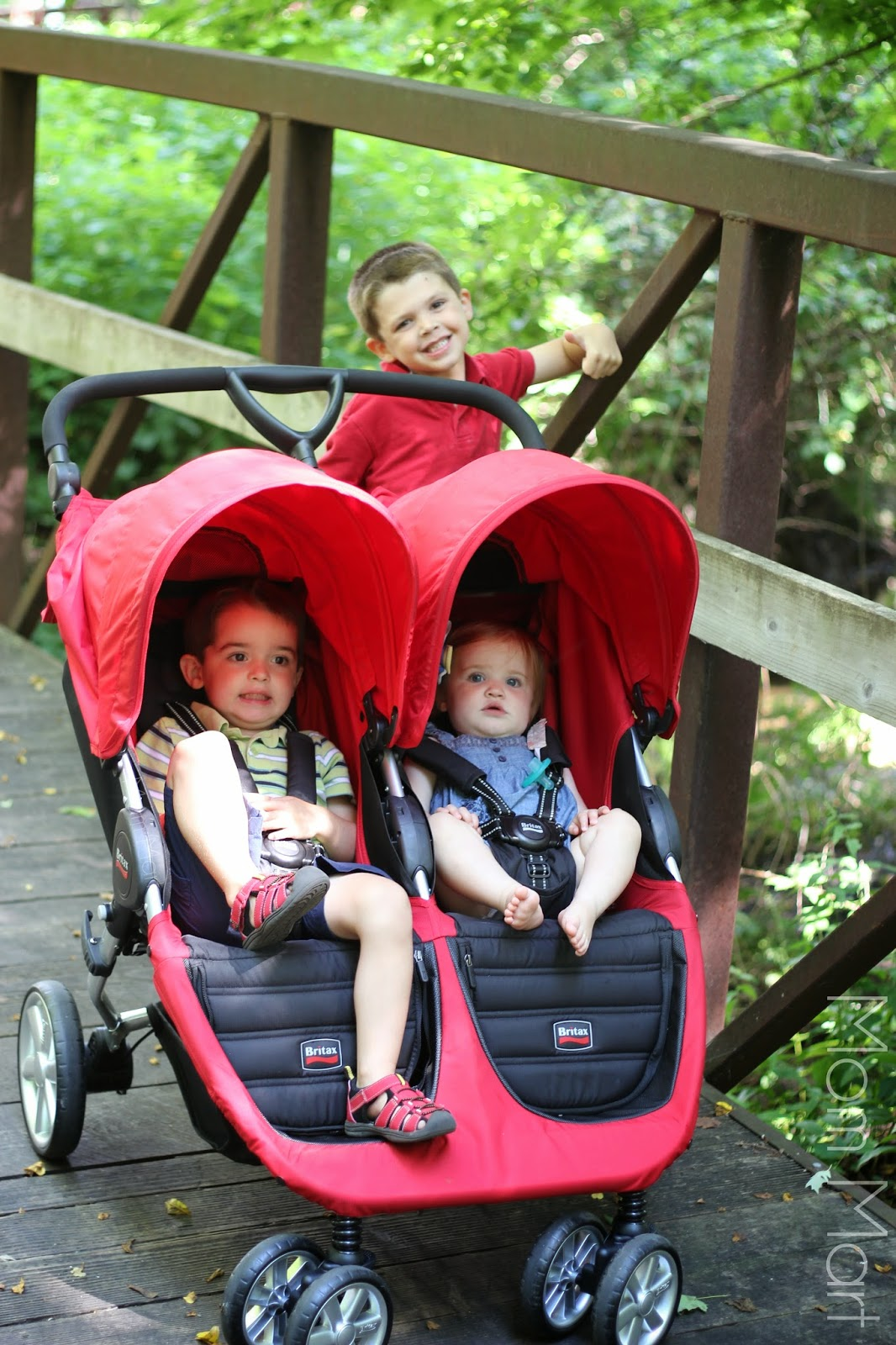 Britax B Agile Double Stroller on the trail with the family.