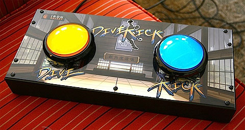 Dive-Kick two-button / two-switch accessible fighting controller.