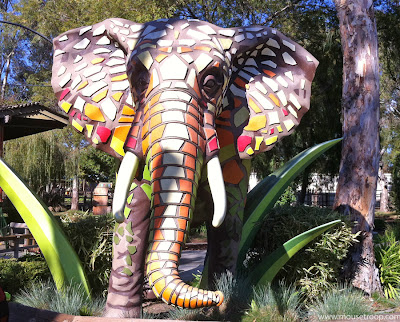 elephant statue tiled tiles Six Flags Discovery Kingdom