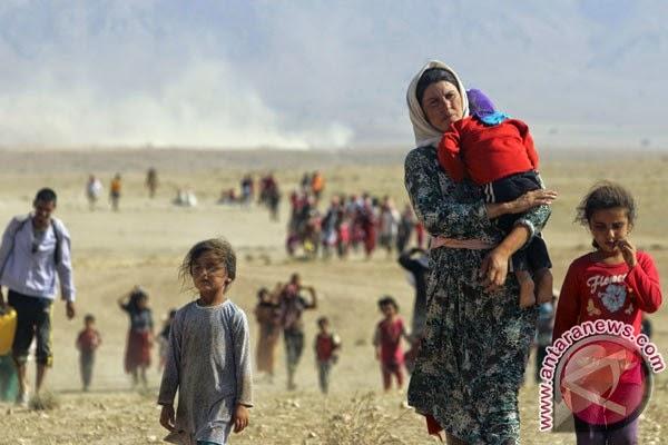 Pengungsi dari sekte minoritas Yazidi