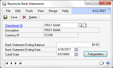 The Dynamics GP Blogster Reconciling unchanged bank statements – Bank Statements