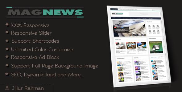Download MagNews v1.1 – Themeforest Responsive Blogger Template