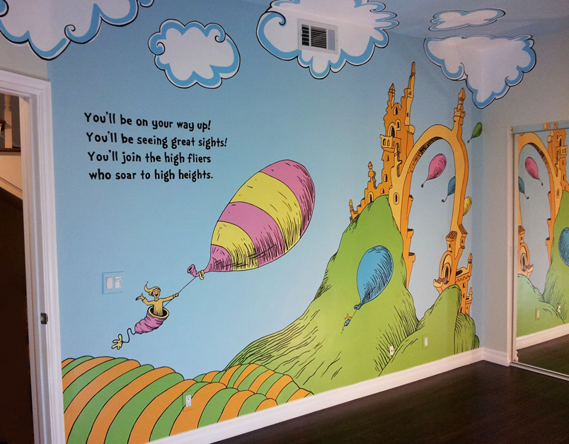 Dr Seuss Wall Murals Full Wall Scene Leads Into Whimsical Painted Clouds  That Ideas