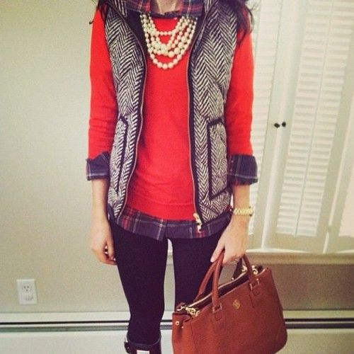 Cute fall with Jcrew herringbone vest