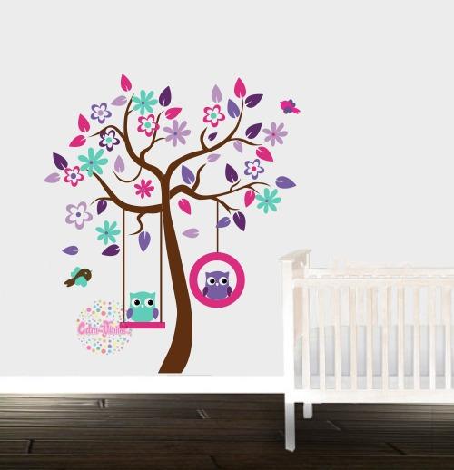 Vinilo decorativo infantil arbol buhos cdm vinilos - Vinilo de pared decorativos ...