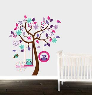 Vinilo decorativo infantil arbol buhos cdm vinilos decorativos para casas y vidrieras - Vinilos de arboles ...
