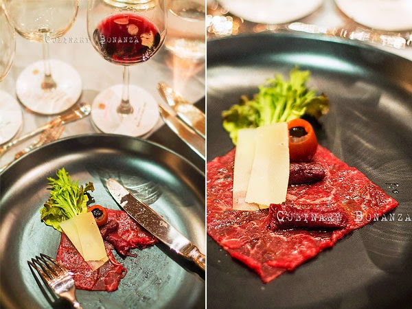 "Wagyu beef carpaccio with ""sous vide"" radicchio, aged grana padano and balsamic reduction"
