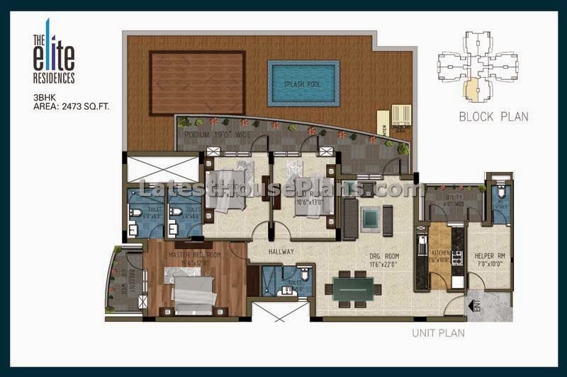 2500 sqft large 3 bhk apartment floor plans with separate for Apartment floor plans 2500 sq ft