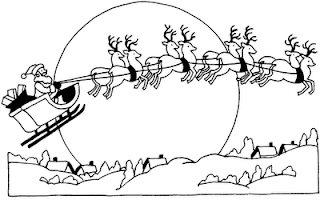 Santa Claus flying on his reindeer over houses beside moon Christmas coloring page picture for children