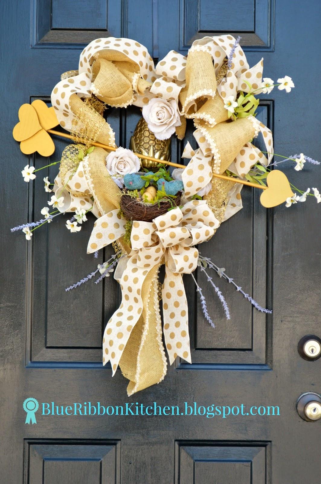 Blue Ribbon Kitchen Lovebird Valentine Heart Wreath