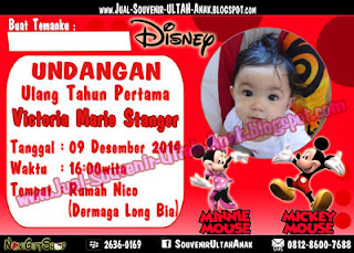 Kartu Undangan Mickey Minnie disney Kartu Undangan Ulang Tahun Anak (Invitation Card)