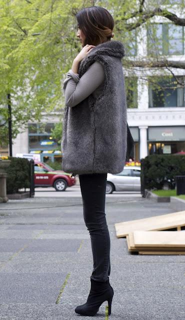Macy's Faux Fur Vest Forever21 Heels