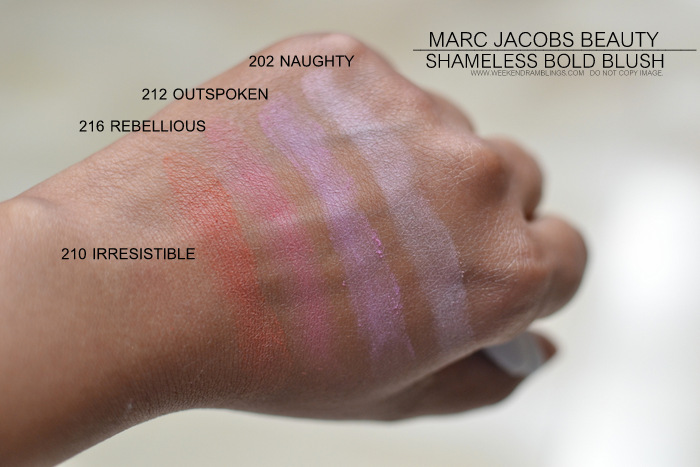 marc jacobs beauty shameless bold powder blush indian darker skin makeup blog photos swatches 210 irresistible 216 rebellious 212 outspoken 202 naughty