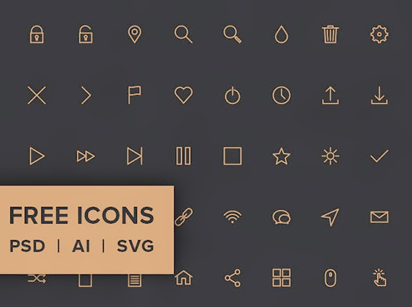 40 tiny icons – PSD, AI, SVG & Webfont