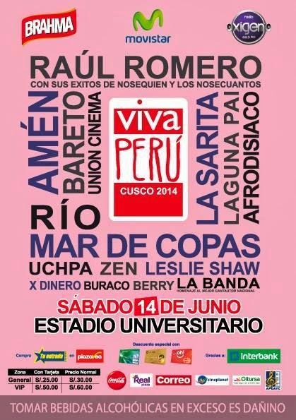 Este 14 de junio Cusco vivir una inolvidable noche de rock/pop peruano  gracias al festival