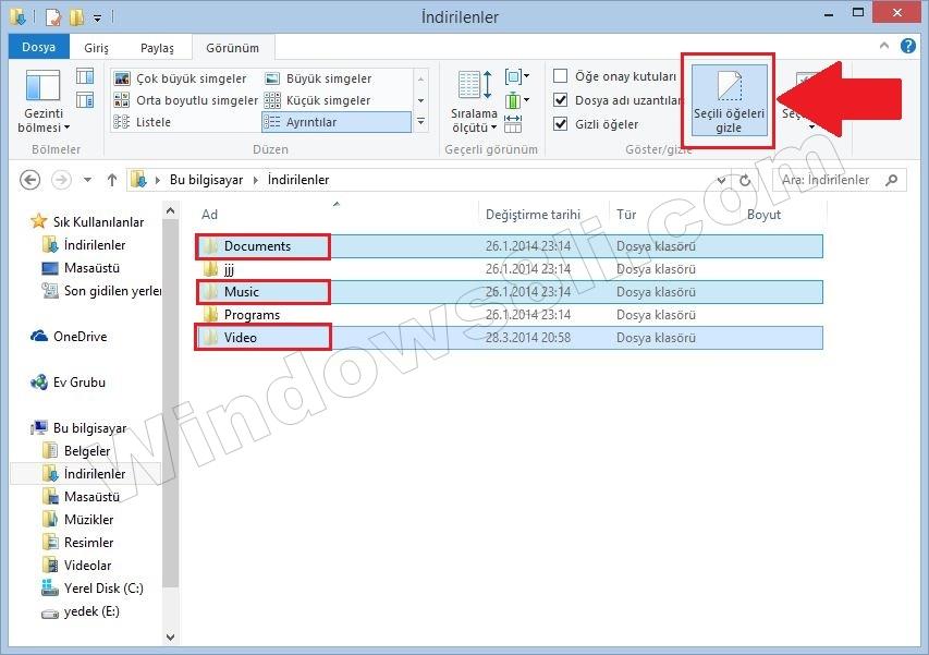 Windows 8.1 Dosya Gizleme
