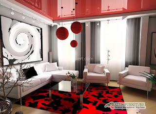 Ruang tamu desain konsep modern kontemporer