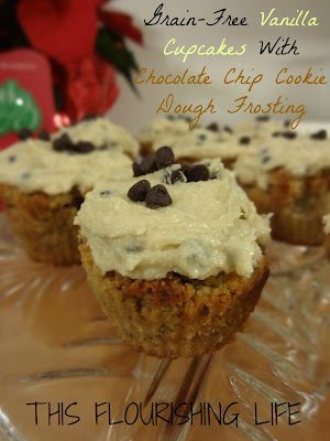 Grain-Free, Refined-Sugar Free Vanilla Cupcakes With Chocolate Chip Cookie Dough Frosting