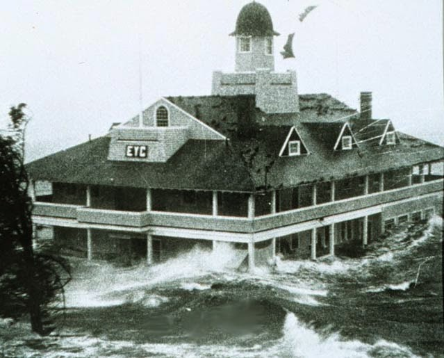 The storm surge from Category 2 Hurricane Carol in 1954 batters New England's Edgewood Yacht Club near Providence, Rhode Island. (Credit: NOAA Photo Library)  Click to Enlarge.