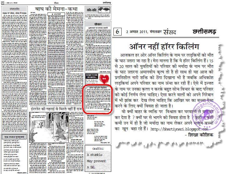 dainik chhatisgarh me ''BHARTIY NARI ''