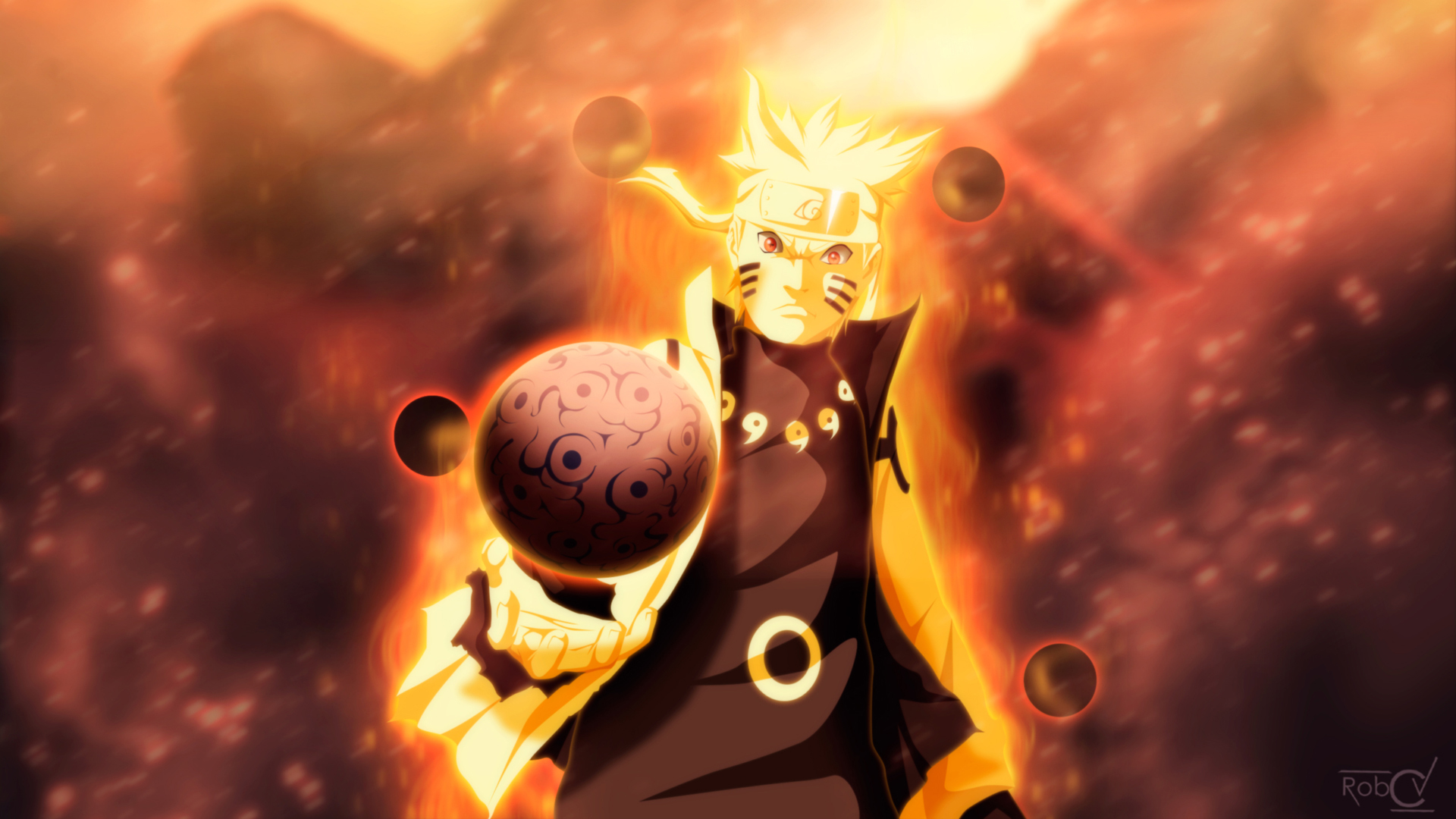 uzumaki naruto 9 tailed beast mode anime. hd 1920x1080 1080p wallpaper