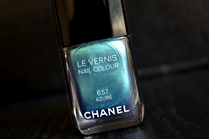 Chanel Le Vernis Nail Polish Azure 657 Lete Papillon De Chanel Summer 2013 Makeup Collection Photos Swatches Review NOTD Indian Darker Skin Beauty Blog