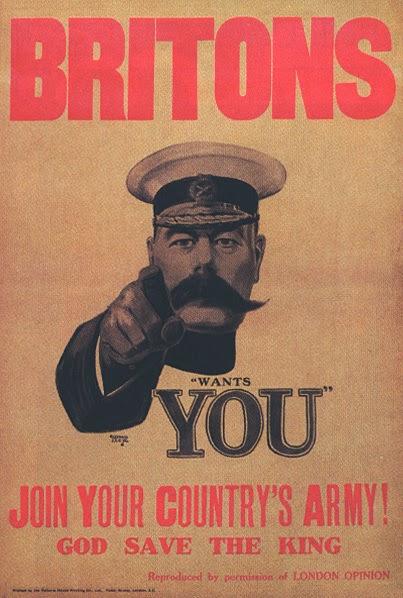 Lord Kitchner - convocação à guerra. Ideia original que serviu de plágio ao Tio Sam - 1911.