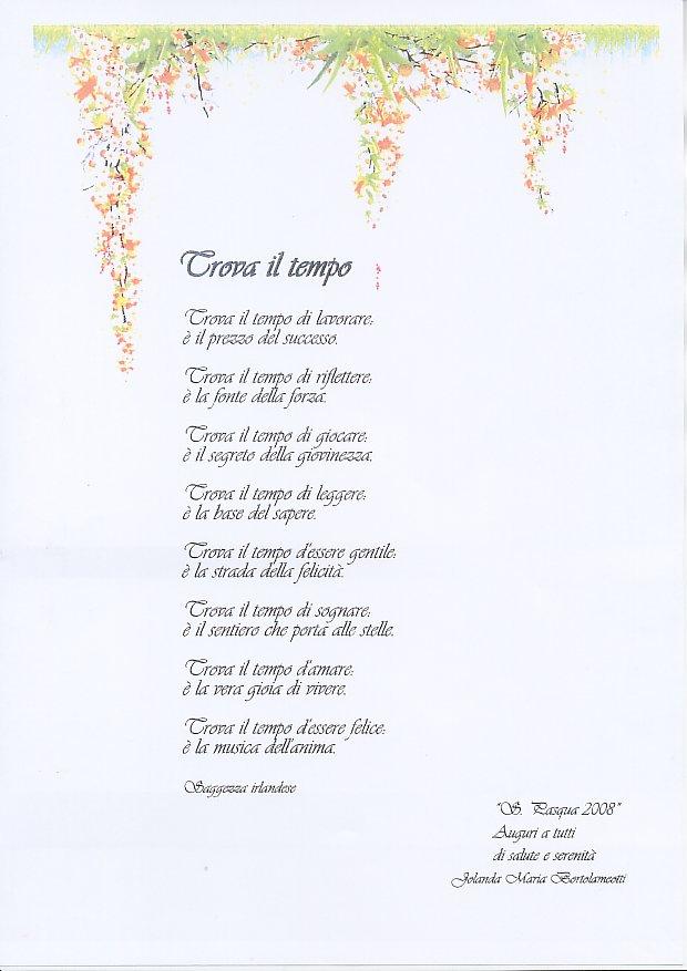 Favoloso JOLANDA BORTOLAMEOTTI: Trova il tempo (poesia) KC34