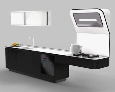 Cuisine moderne avec des meubles noirs