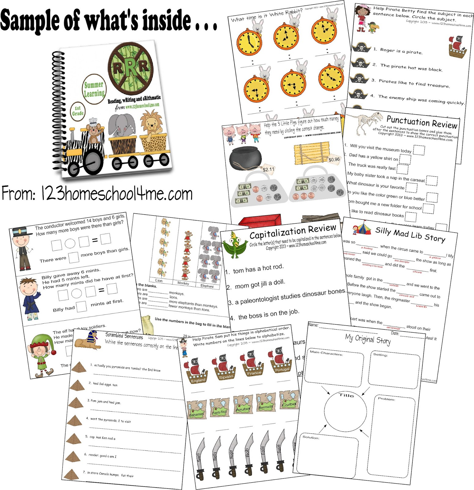 Learning worksheets for 1st graders