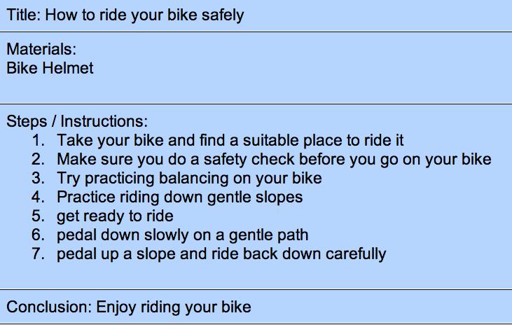 my first bike ride essay writer