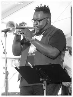 Marquis Hill - Makaya McCraven Quartet - 2015 Chicago Jazz Festival   Photograph by Tom Bowser