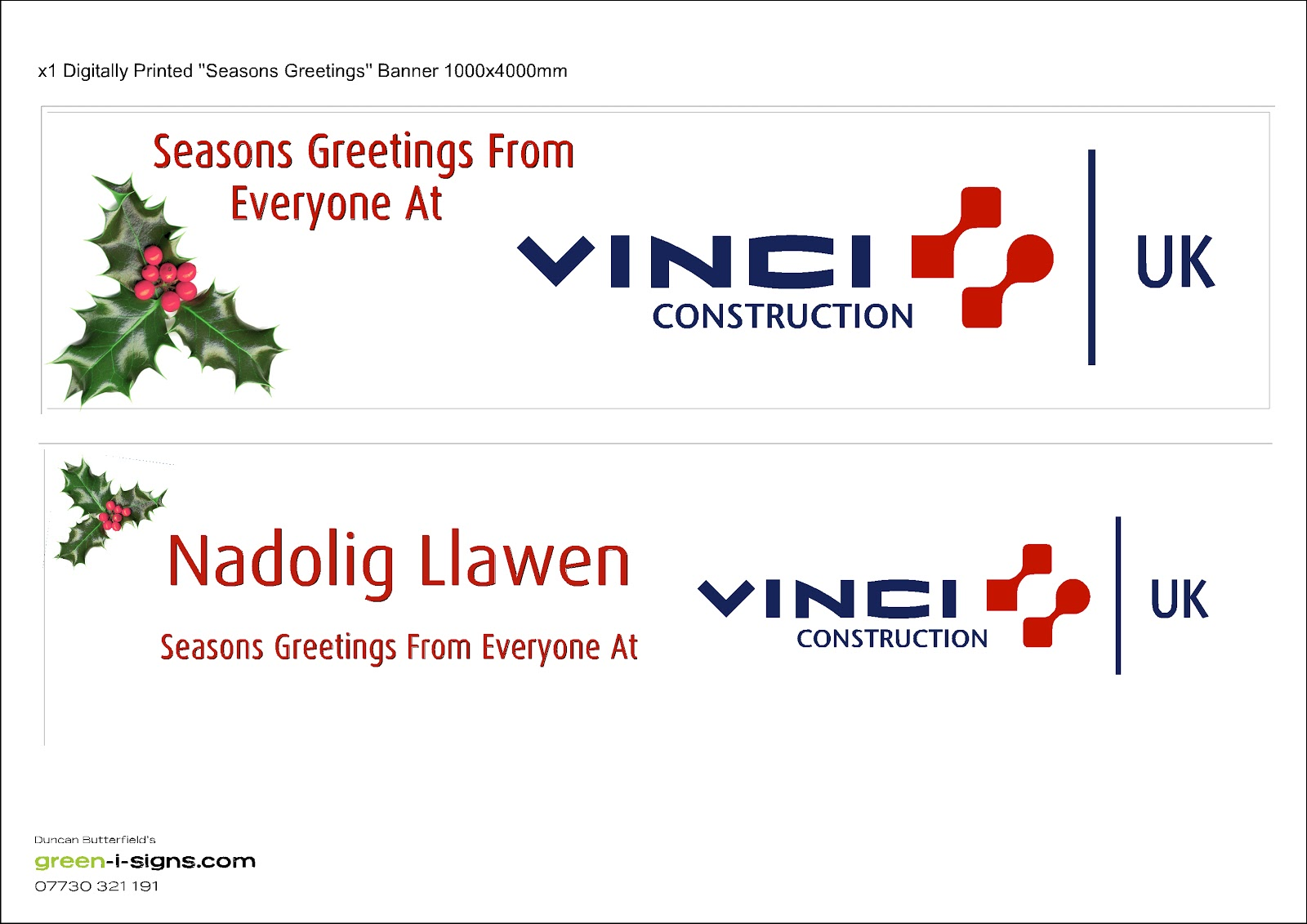 Vinci construction uk health and safety site signage as supplied vinci construction seasons greetings banner digitally printed vinyl banner or flo through mesh banner 1000x4000mm kristyandbryce Choice Image