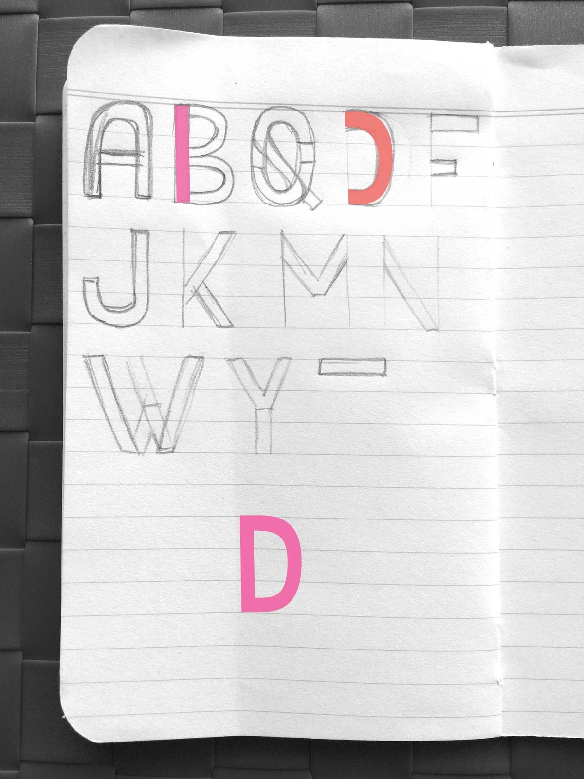 Drawing letter D - Create a font with minimal sketching