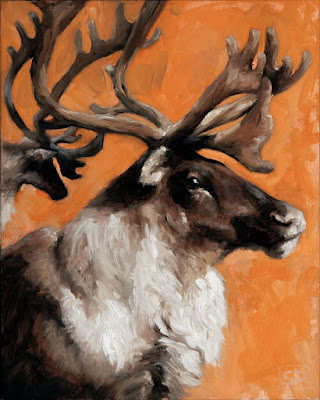 Woodland caribou, painting oil on panel, by artist Shannon Reynolds