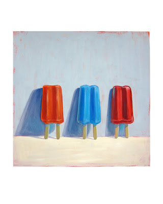gouache painting of three twin pop popsicles