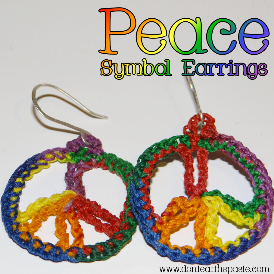 Dont Eat The Paste Peace Symbol Crocheted Earring Pattern
