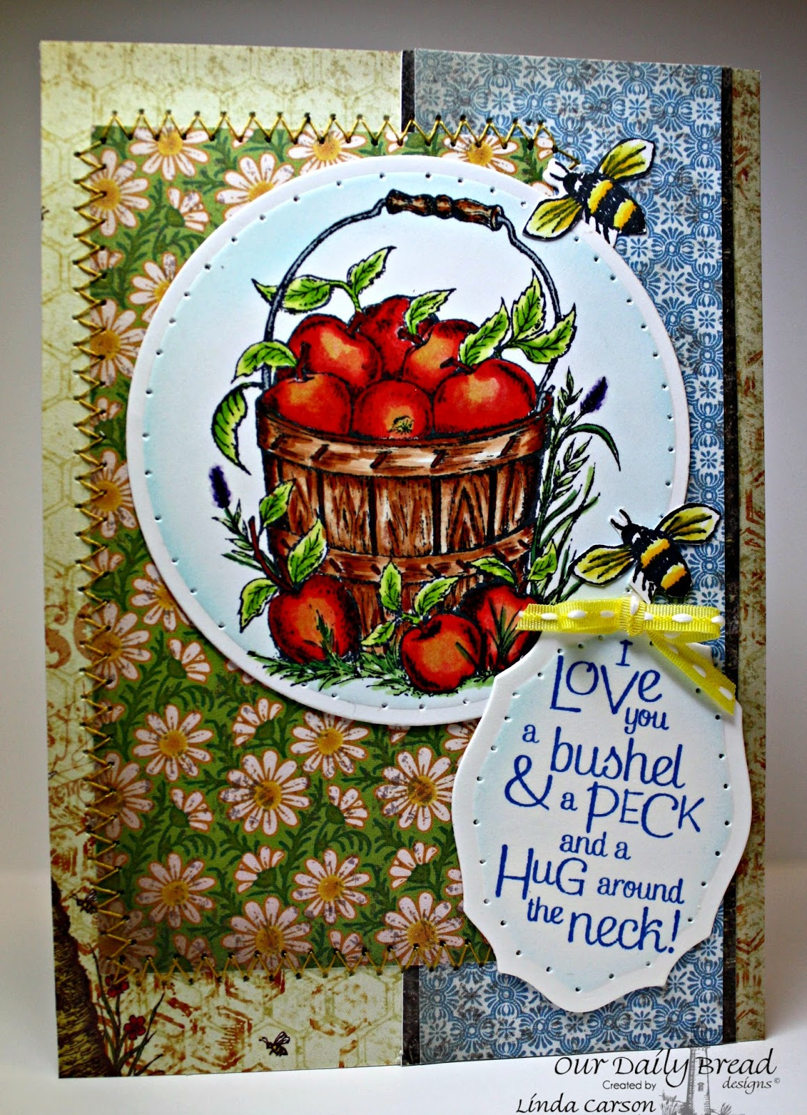 ODBD, Apples, Zinnia, Blooming Garden Collection, Zinnia and Leaves die, Elegant Oval die, designer Linda Carson