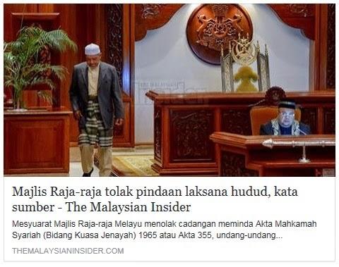 MEDIA TMI JAHAT Majlis Raja Raja Melayu MURKA AMAT SANGAT dengan The Malaysian Insider Siar Artikel Majlis Raja Raja Tolak Hudud