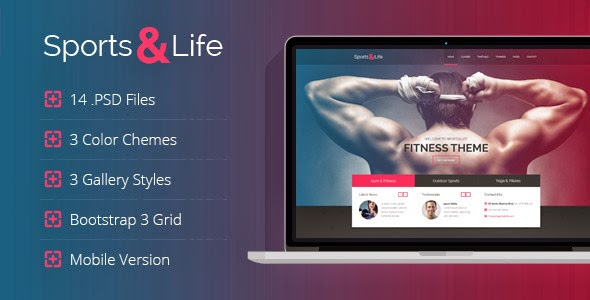 Sports website psd template