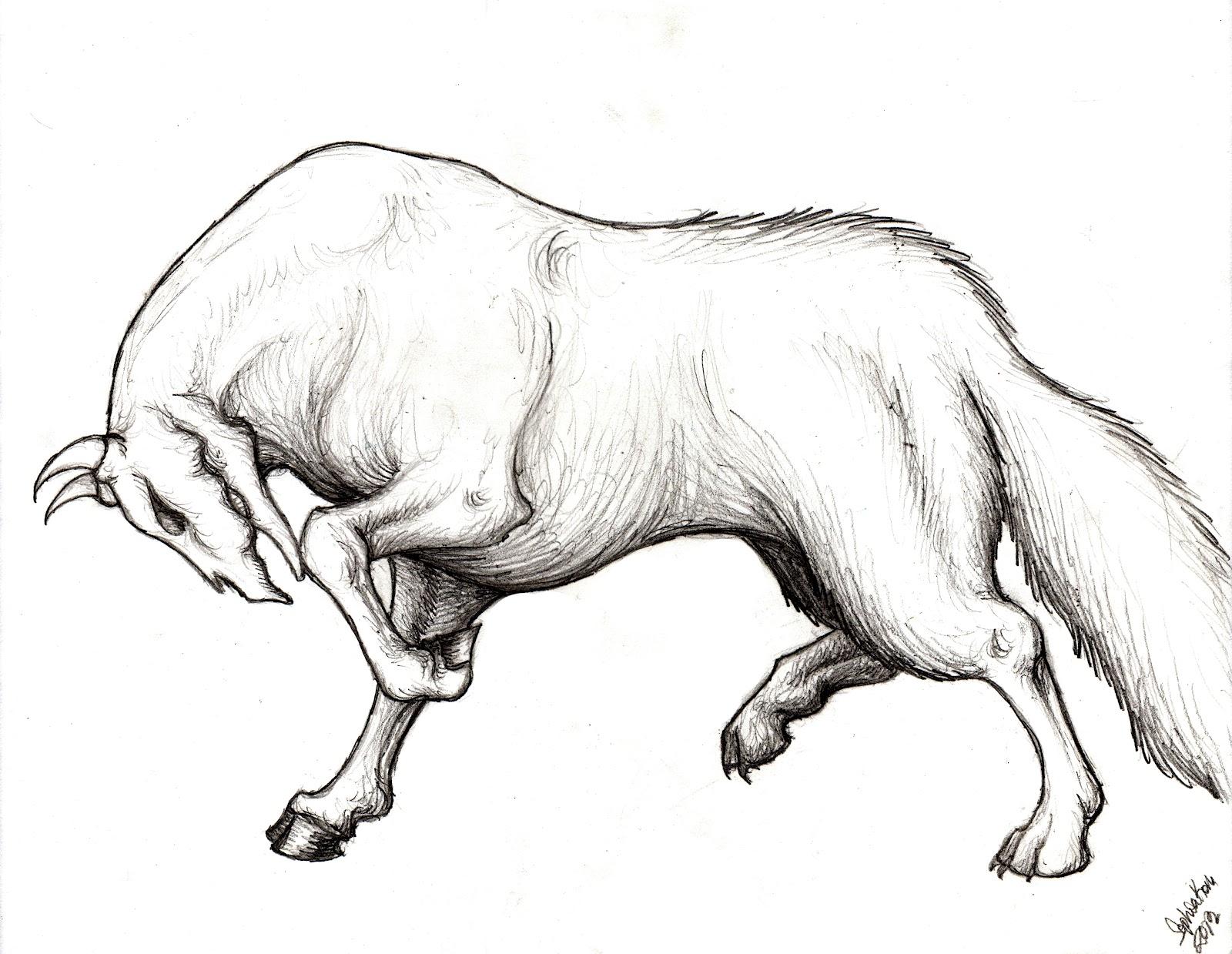 Matarlovine--giant wolf with the head of a skeletal bull--My idea