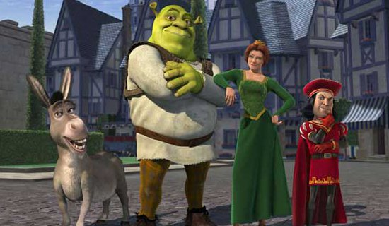Shrek standing in courtyard with Donkey, Fiona, Farquaard