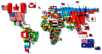 Blue sky gis maps in comics flag maps two fer here is a map of the world made out of flags each flag is scaled to match the size of the nation it represents there are many versions of this on the gumiabroncs Gallery