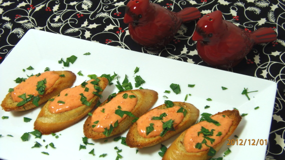 Garlic Toasts with Red Pepper Aioli Recipe