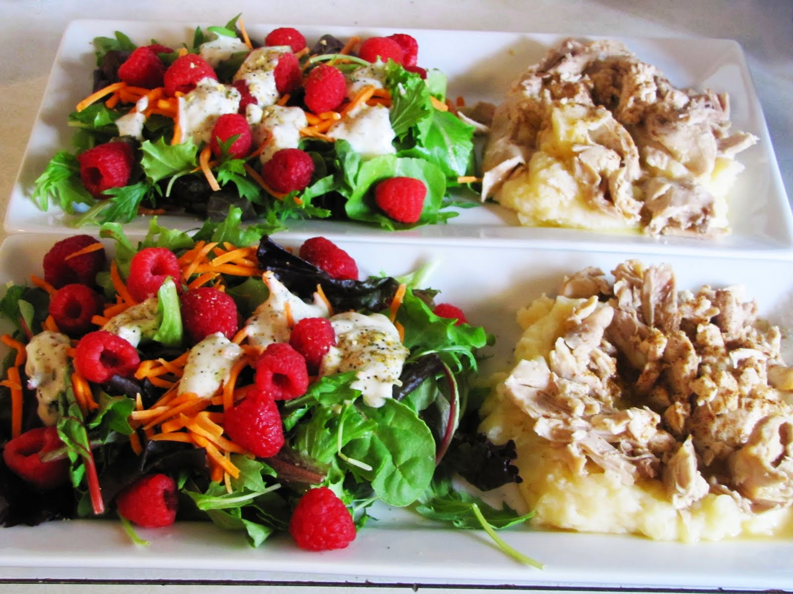 Raspberry Salad with Chicken & Mashed Potatoes/Broth